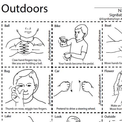 ASL Flash Cards Outdoors
