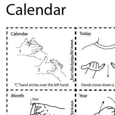 ASL Flash Cards - Calendar Set of 12 words, Sign Lanugage