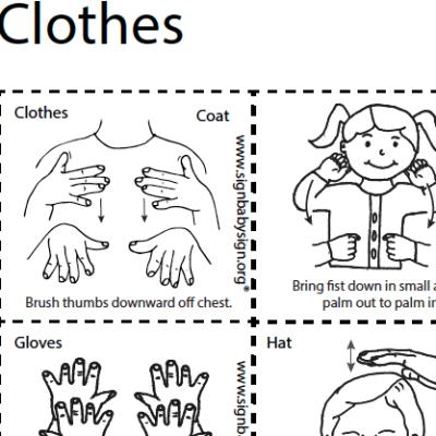 ASL Flash Cards - Clothes, Set of 12 words, Sign Lanugage