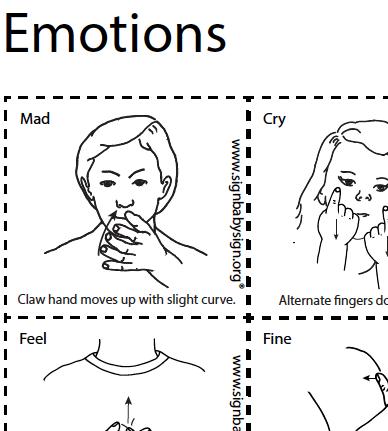 ASL Flash Cards -Emotions, Set of 12 words, Sign Language