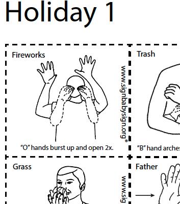 ASL Flash Cards - Holiday part 1, Set of 12 words, Sign Language
