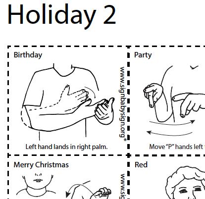 ASL Flash . Cards - Holiday Part 2, Set of 12 words, Sign Language