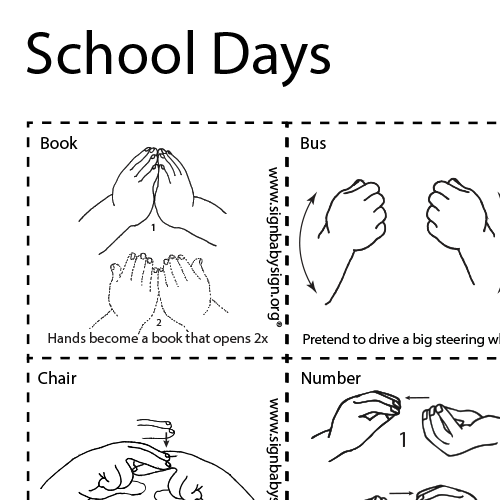 ASL Flash Cards – School Days, Set of 12 words, Sign Language