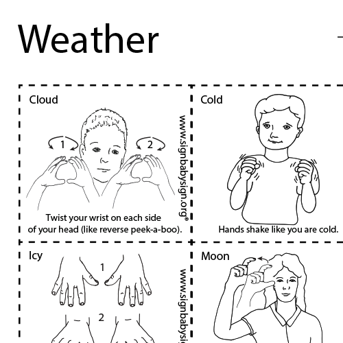 Preview ASL Flash Cards – Weather, Set of 12 words, Sign Language