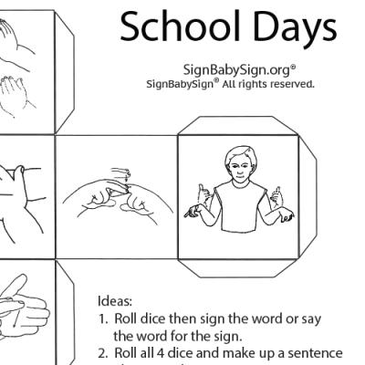ASL Dice Game –School Days, Set of 12 words, Sign Language
