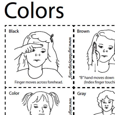 Colors Sign Language Flash Cards