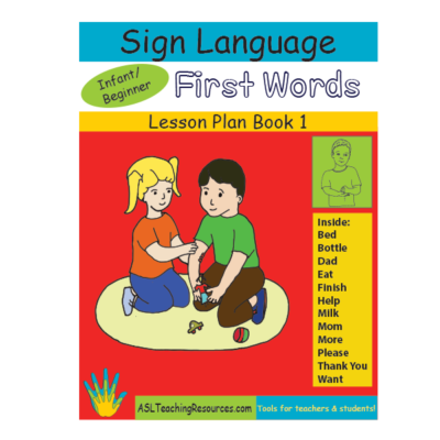 ASL for Children - Infant shows a picture of boy and girl playing together on a carpet.