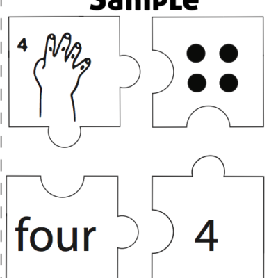 Numbers ASL 1-10 Puzzle 4 piece sample