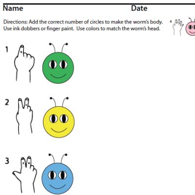 ASL Numbers Finger Counting Caterpillar sample