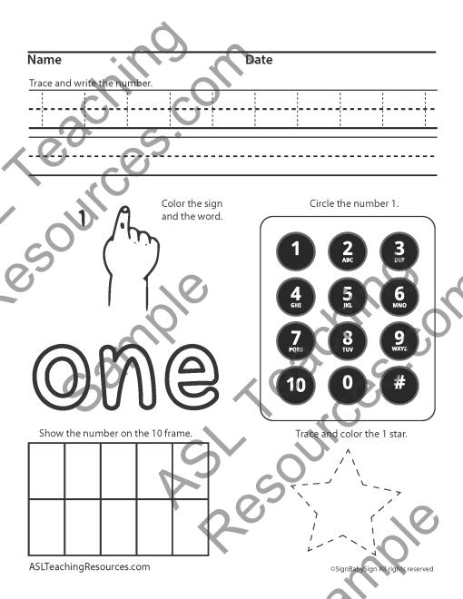 Numbers Practice 1-10 sample