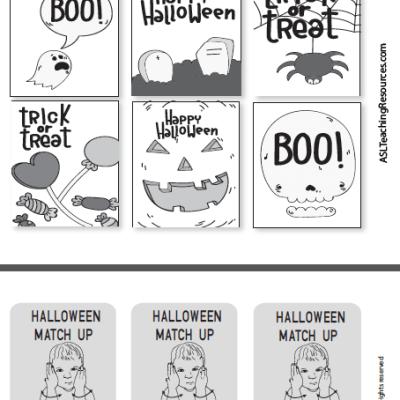 Games Halloween ASL Matchup Cards B-W