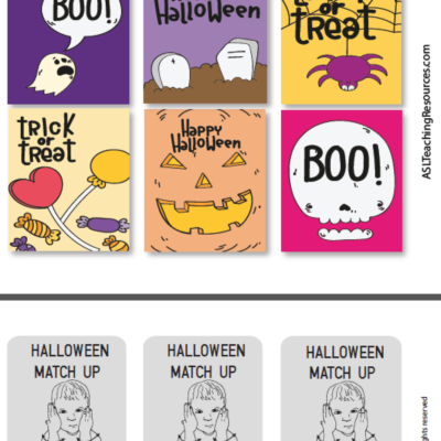 Games ASL Halloween Cards color