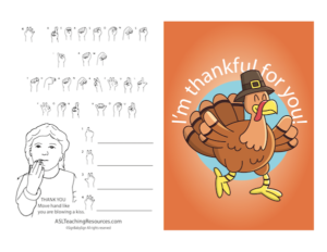 I'm thankful for you color with ASL