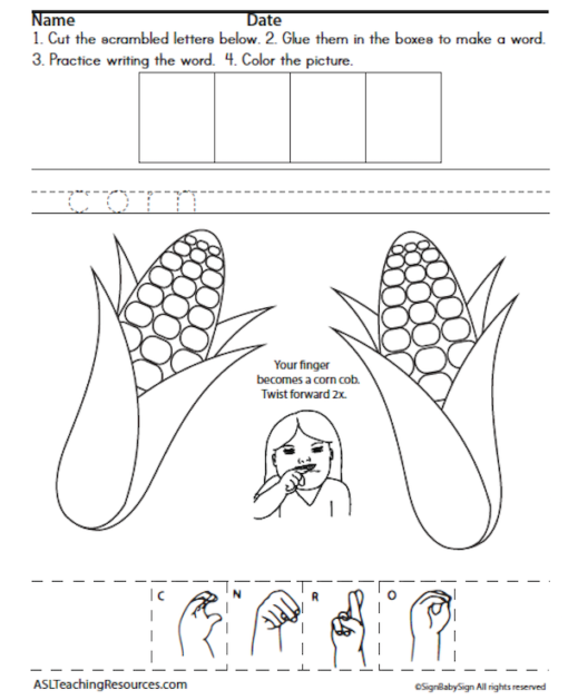 ASL Writing Thanksgiving sample