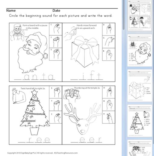 Phonics Christmas sign language sample 2