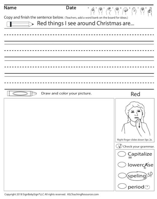 ASL Writing Prompts December Sample 1