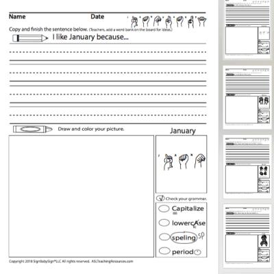 Writing Prompts January Sign Language Sample