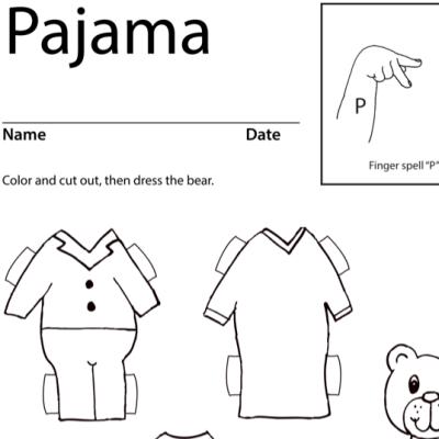 Pajama Lesson Plan Screenshot Sign Language