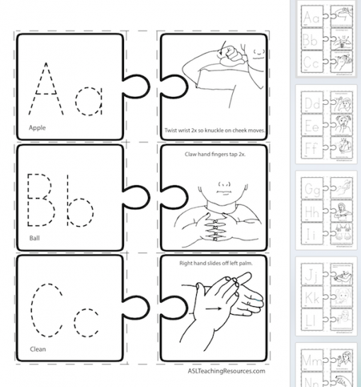 LPB 20 ABC Puzzle 1 of 3 signs Screen Shot sign language
