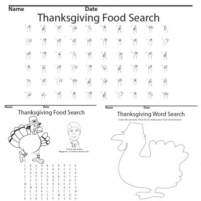 Thanksgiving Food Word Search Product screen shot Sign Language
