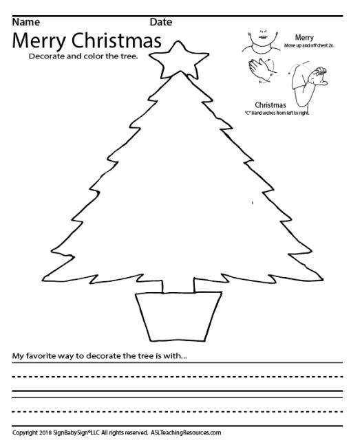 Christmas Coloring Sheet ASL Screen Shot