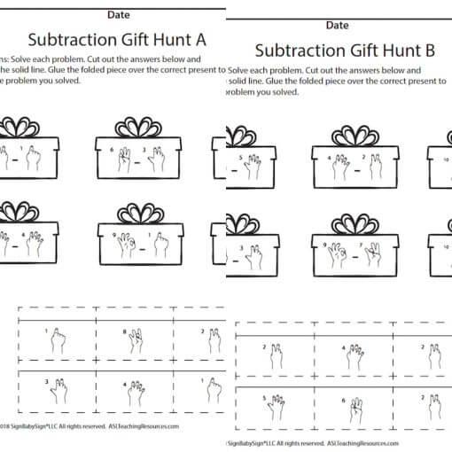 December Subtraction Gift Hunt A B screen shot Sign Language