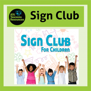 Sign Club for Children contains a line of children clasping and raising their hands together in excitement for their sign language activities.