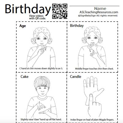 birthday flashcard black and white asl