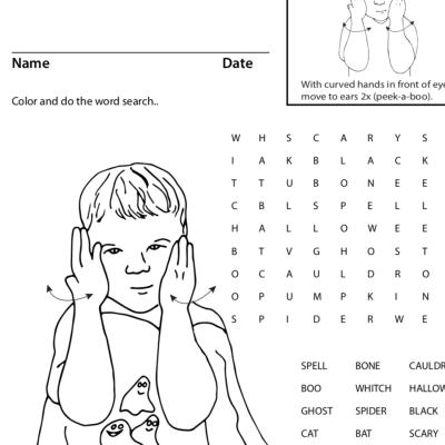 Halloween sign language game