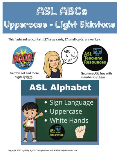 ASL ABC Light Skin Uppercase