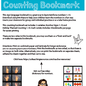 Counting Bookmark ASL Preview 1