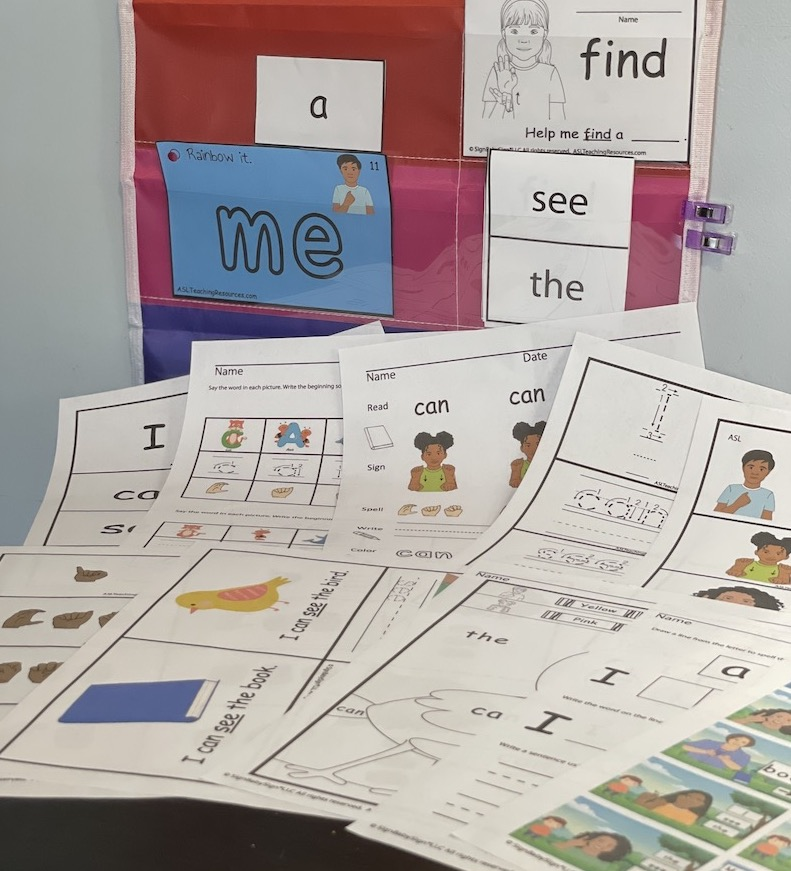 sight words worksheets with sign language