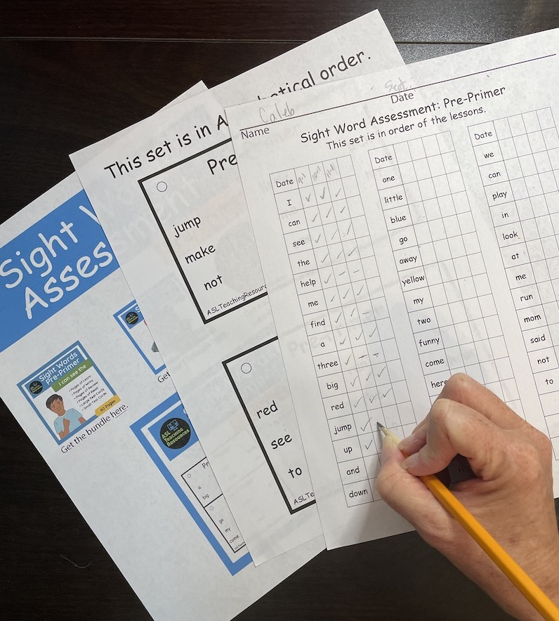 sight word assessment with teacher writing on it