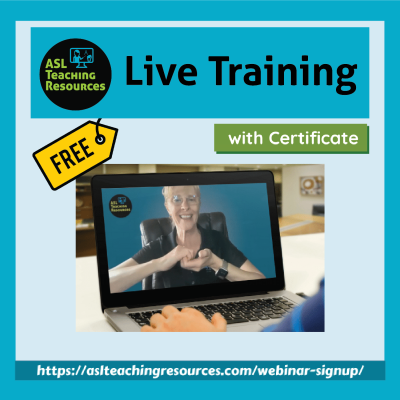 computer with lady signing show ASL Teaching Resources Webinars for SPED Teachers