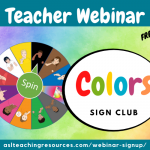 teacher webinar announcement for colors sign club