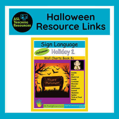 image of halloween book cover with asl vocab list